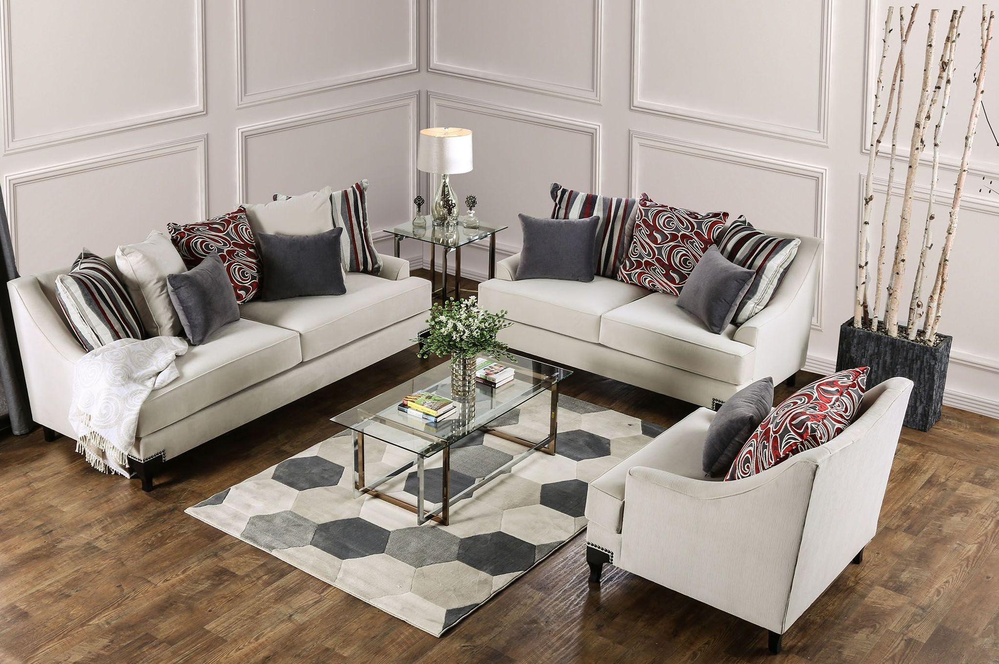 Living Room Furniture Ivory Sofa Viscontti Ivory Upholstered Living Room Set From Furniture