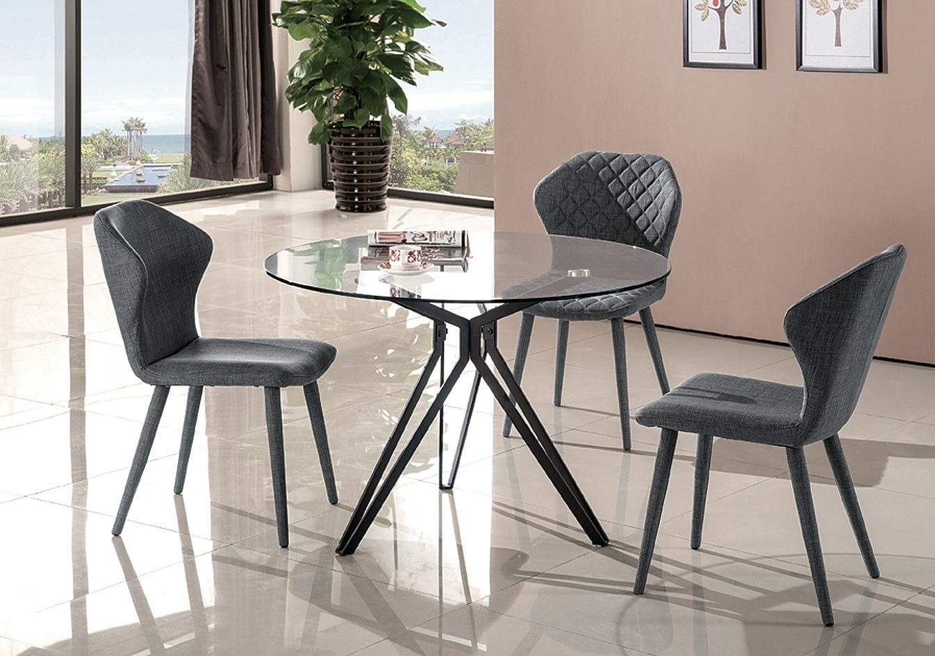 Dining Room Furniture Glass Solano Glass Round Dining Room Set From Jnm Coleman