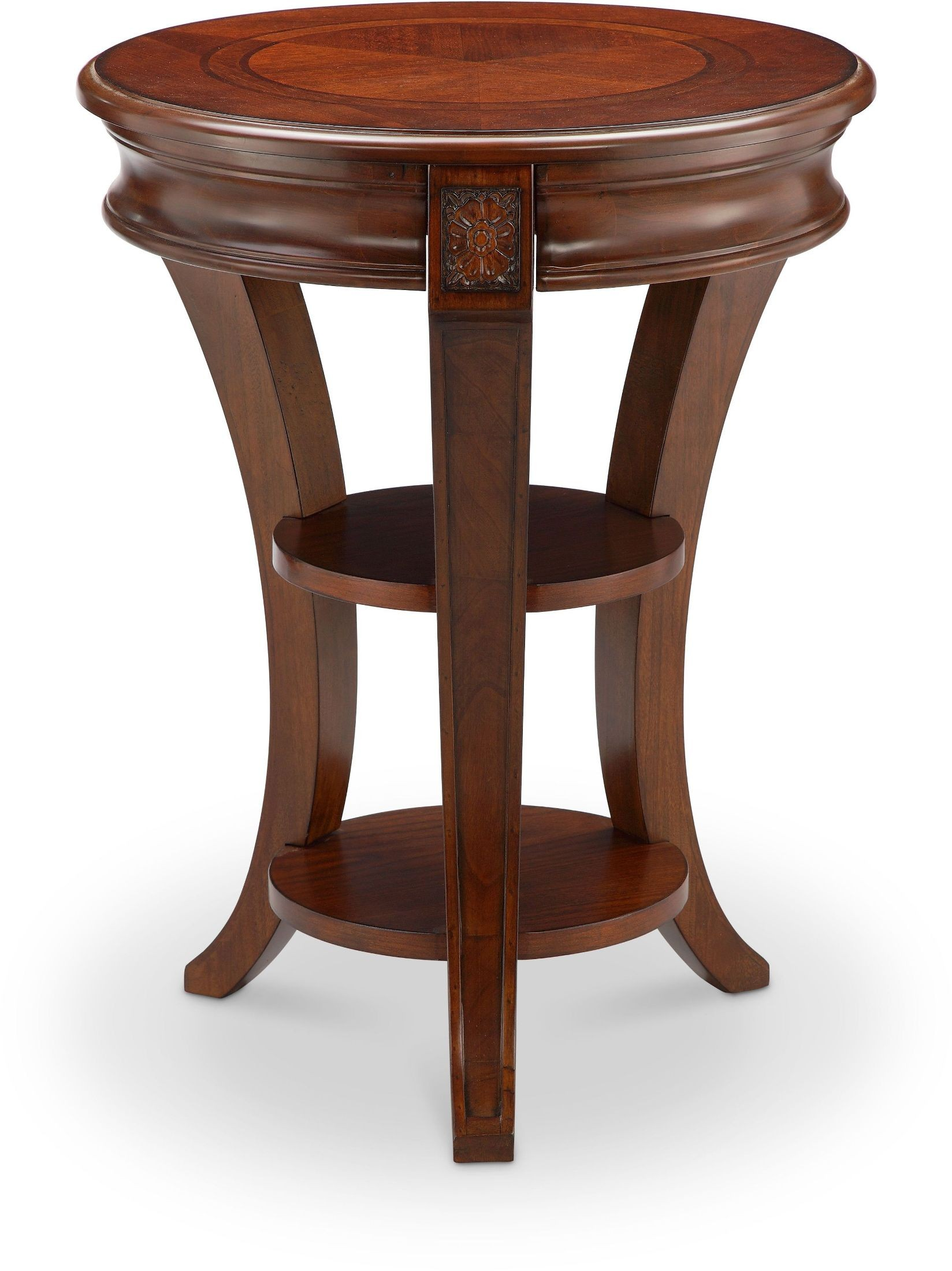 Circular End Tables Winslet Cherry Round Accent Table T4115 35 Magnussen Home