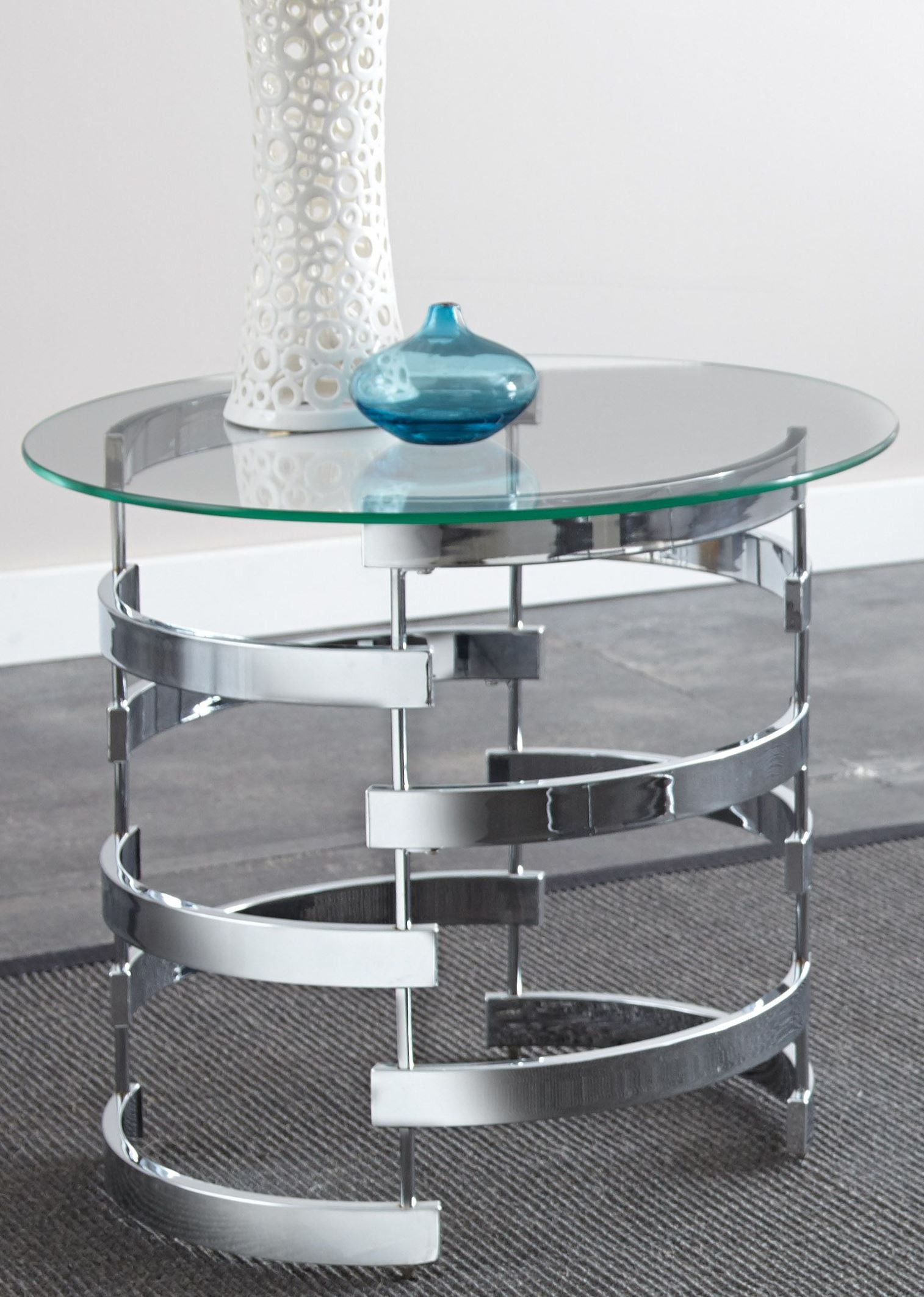 Round Glass Top End Tables Tayside Glass Top Round End Table From Steve Silver