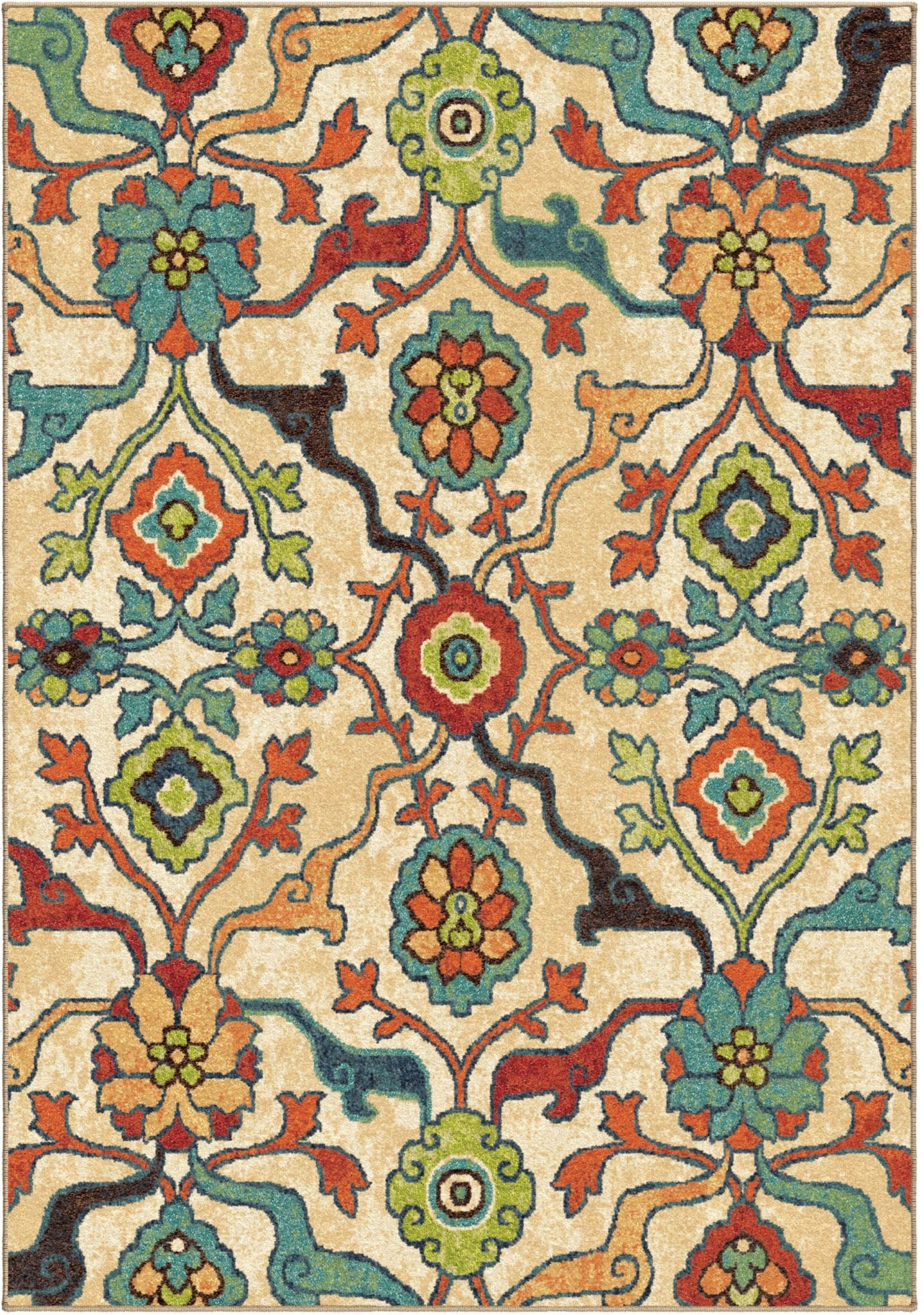 Bright Rugs Spoleto Bright Color Floral Tibet Multi Large Area Rug