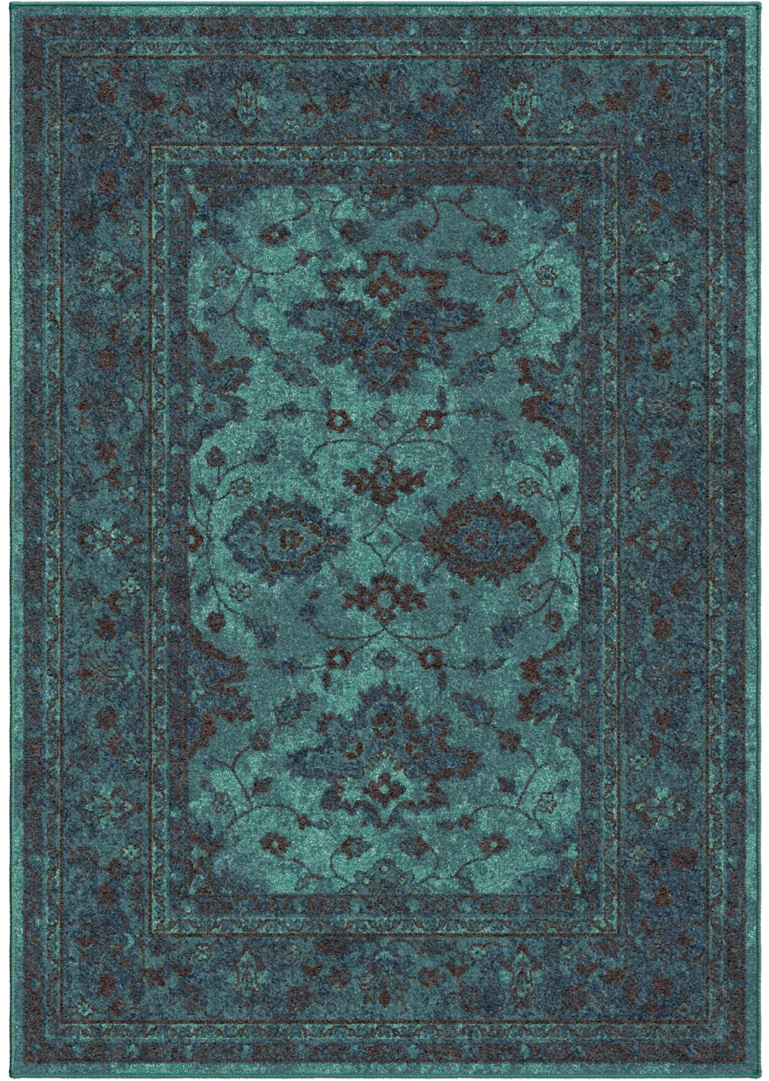 Bright Rugs Spoleto Bright Color Modern Ethnicagra Blue Large Area Rug