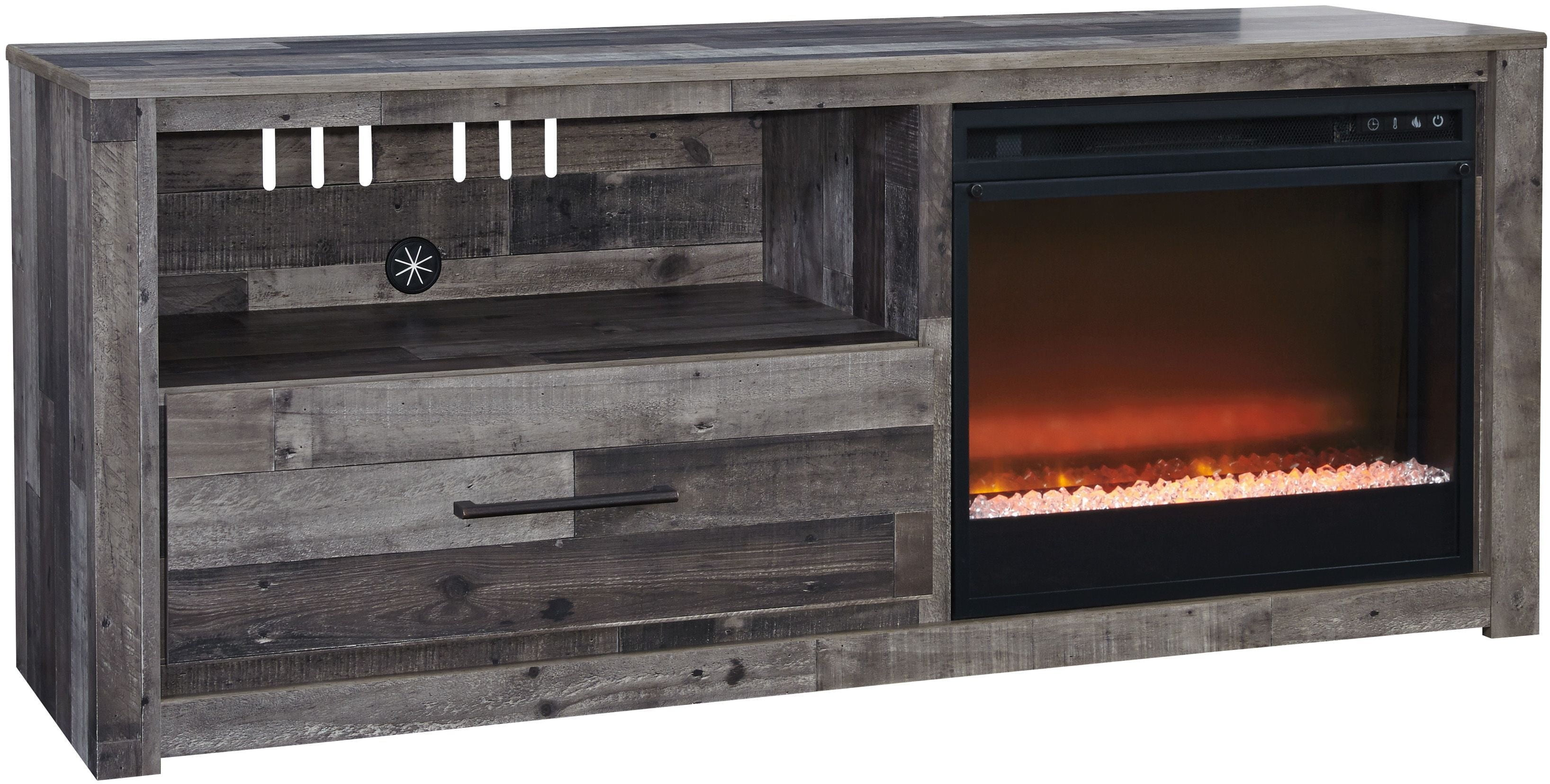 Derekson Gray Lg Tv Stand With Glass Stone Fireplace