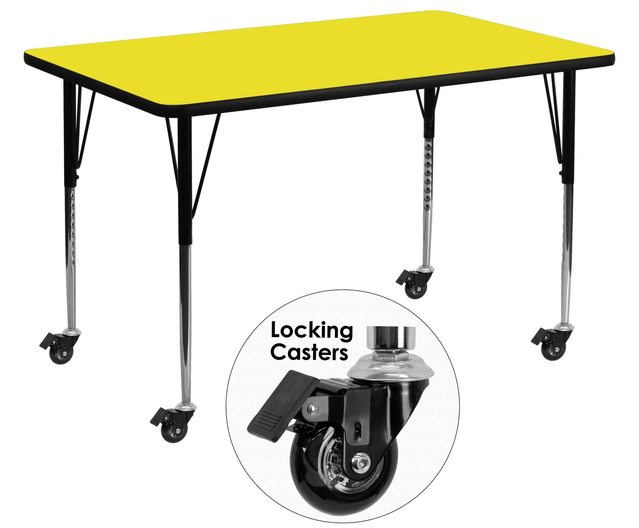 Adjustable Height Activity Table Mobile 30 Quotw X 60 Quotl Rectangular Adjustable Height Yellow