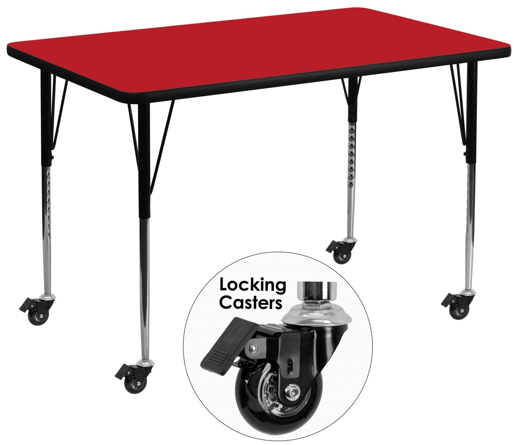 Adjustable Height Activity Table Mobile 36 Quotw X 72 Quotl Rectangular Adjustable Height Red