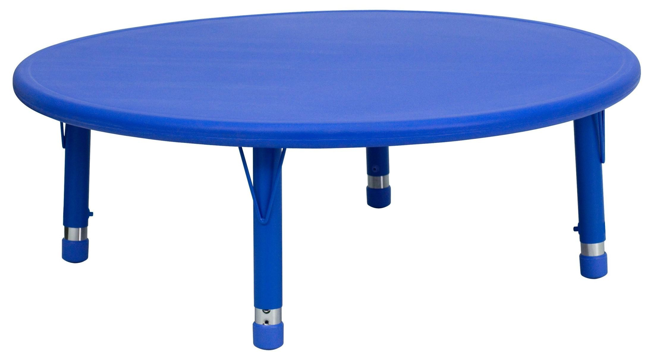 Adjustable Height Activity Table 45 Quot Round Height Adjustable Blue Plastic Activity Table