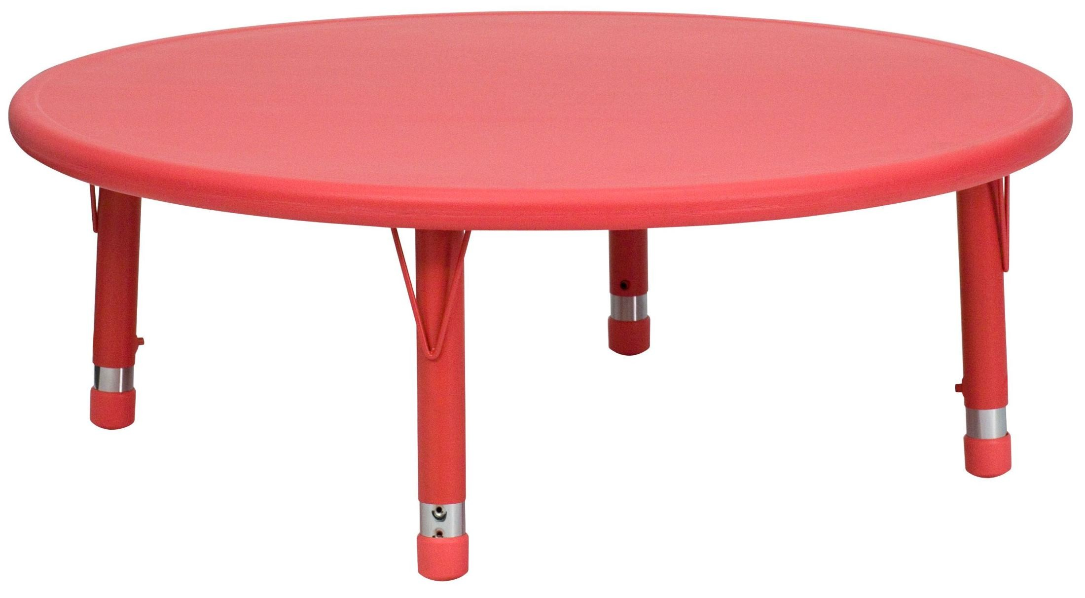 Adjustable Height Activity Table 45 Quot Round Height Adjustable Red Plastic Activity Table