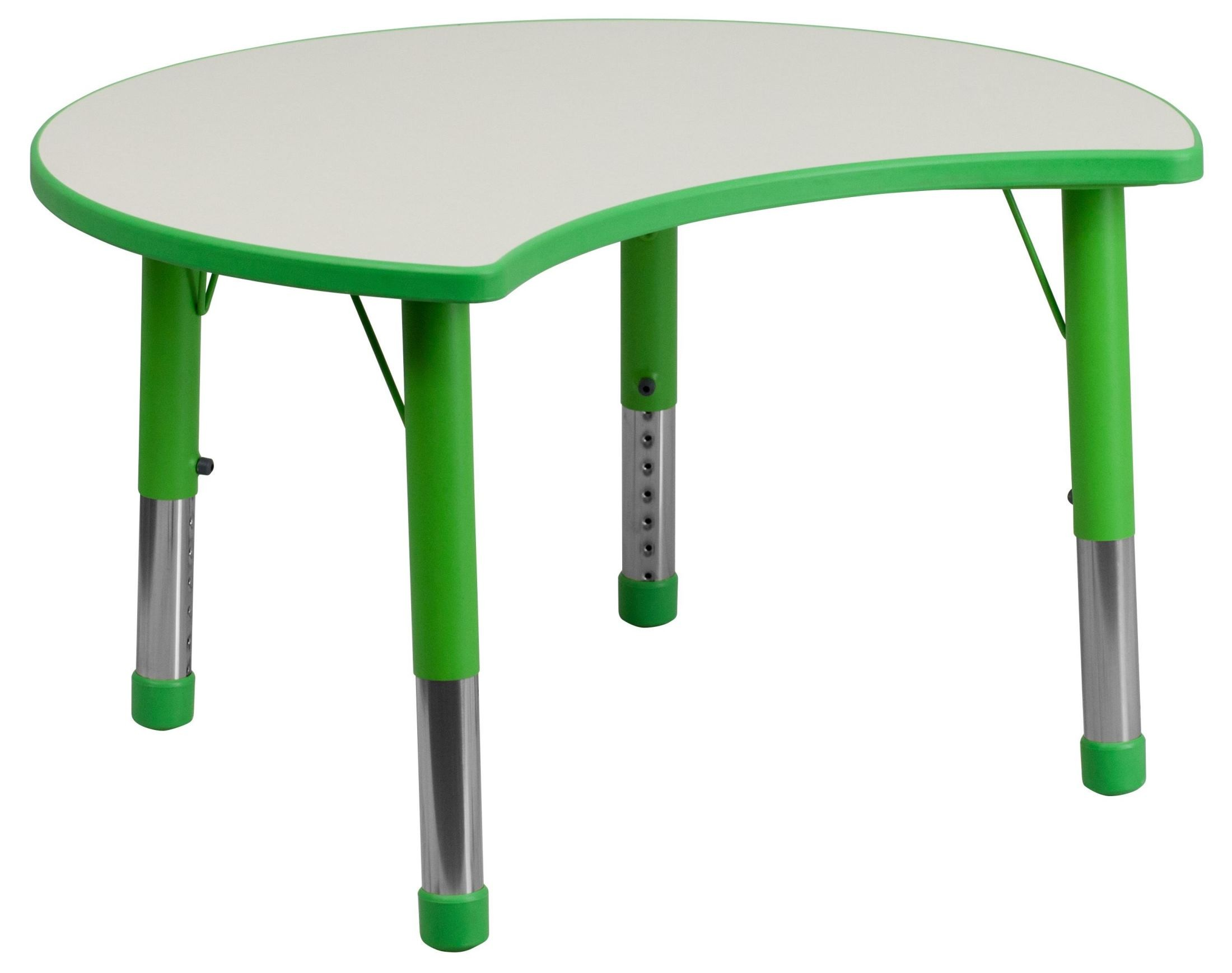 Adjustable Height Activity Table Adjustable Height Cutout Circle Green Plastic Activity