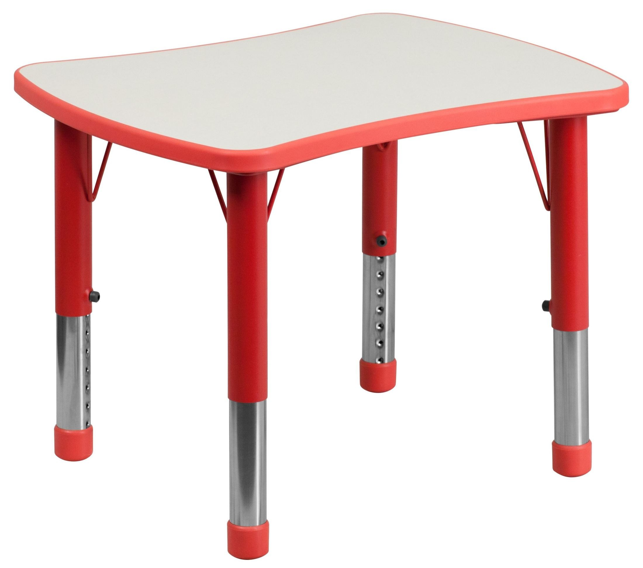 Adjustable Height Activity Table Height Adjustable Rectangular Red Plastic Activity Table