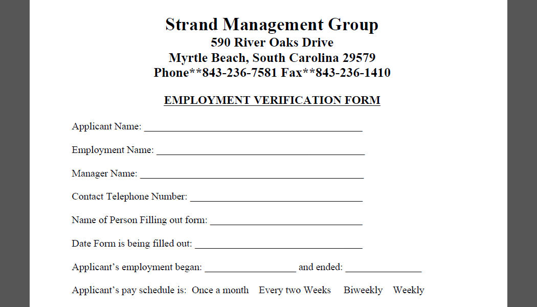 Document Downloads Strand Management - employment verification form