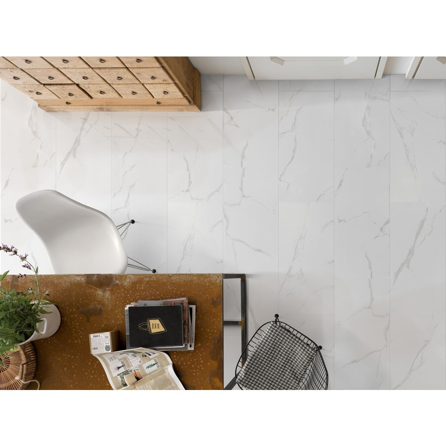 Faber 12x24 Polished Carrara White Porcelain Floor Wall Tile Lowe S Canada