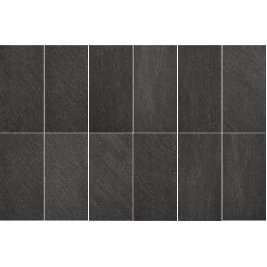 Style Selections Galvano Charcoal Porcelain Granite Floor And Wall Tile Common 12 In X 24 In Actual 11 85 In X 23 85 In Lowe S Canada