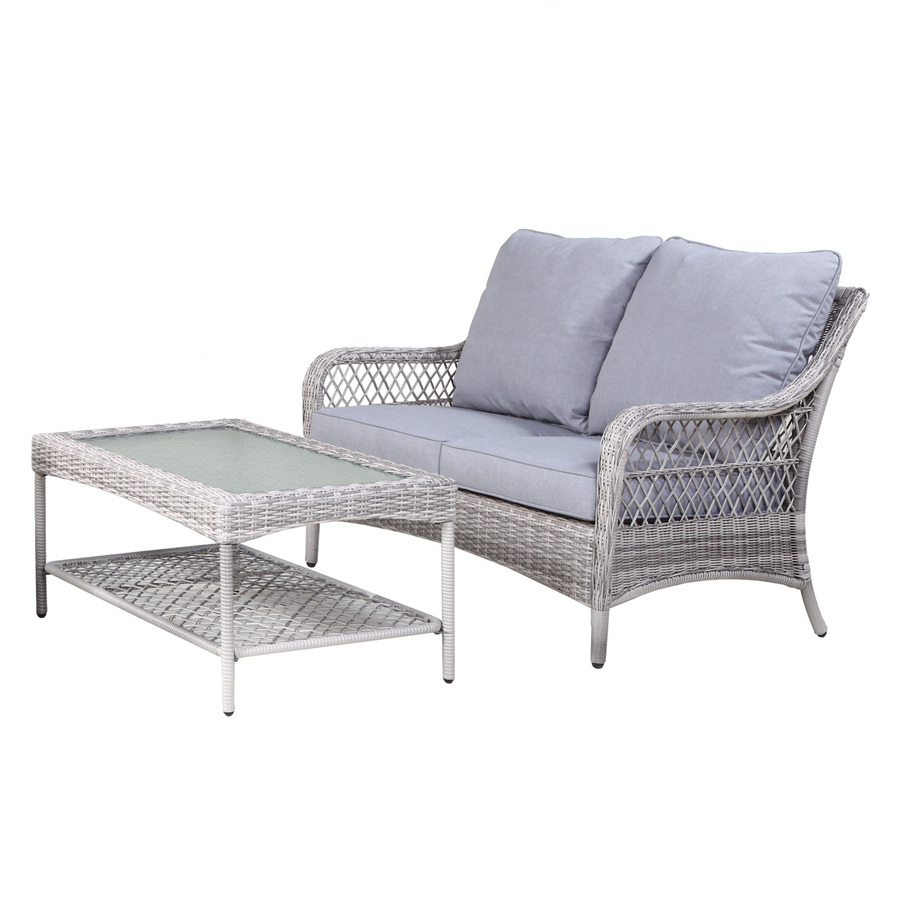 Allen Roth Parkview Patio Loveseat Sofa And Coffee Table Light Gray Lowe S Canada