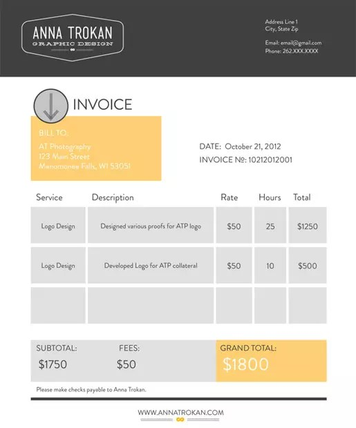 Design an Invoice That Practically Pays Itself \u2014 SitePoint - graphic design invoice sample