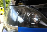 A comparison of the before and after headlight polishing