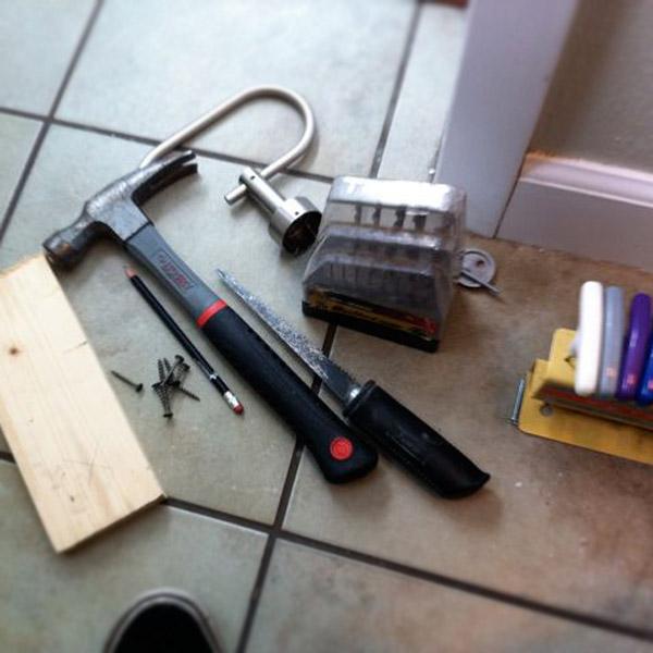 Tools for repairing drywall.