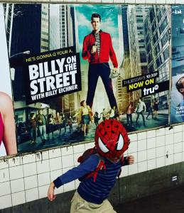 SpiderMan protecting the streets from the scourge of billyeichner!