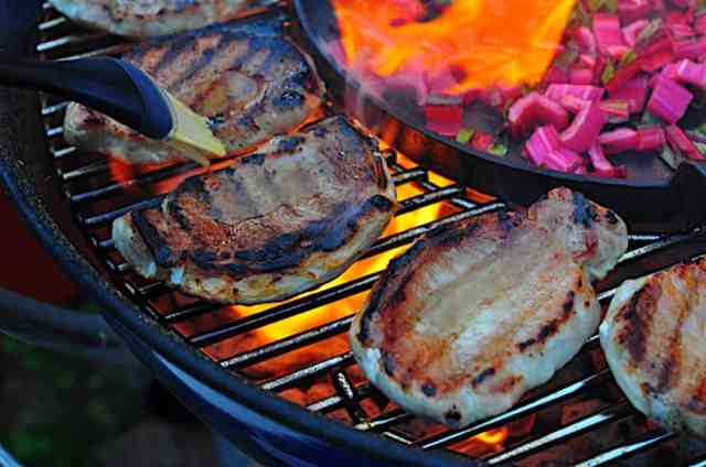 Grilled Pork Chops with Bourbon Brine and Baste - Dad Cooks Dinner