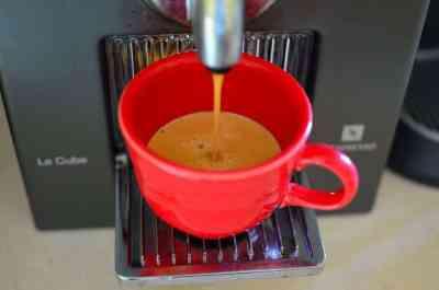 Brewing the espresso