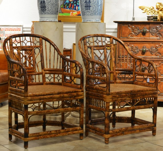 A Pair of Bamboo Chinoiserie Chippendale Style Arm Chairs with Cane Seats. A Pair of Bamboo Chinoiserie Chippendale Style Arm Chairs with