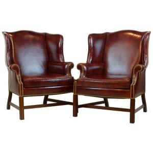 Pair Georgian Leather Wingback Chairs