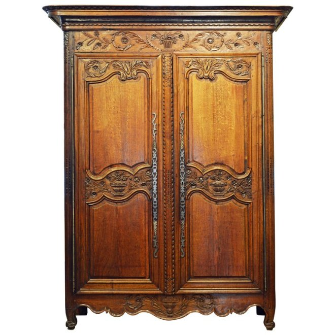 18th Century French Provincial Louis XV Style Carved Oak Wood Wedding  Armoire. DECORATIVE ARTS   FINE ANTIQUES   DAFA in Fort Lauderdale   Part 3