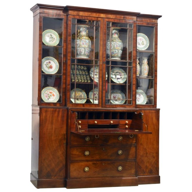 Noble Early 19th Century George III Mahogany Breakfront Secretary Bookcase. DECORATIVE ARTS   FINE ANTIQUES   DAFA in Fort Lauderdale