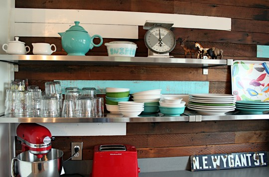 open shelving in kitchen, floating shelves