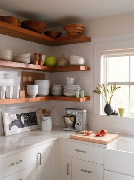 open floating shelving in kitchen