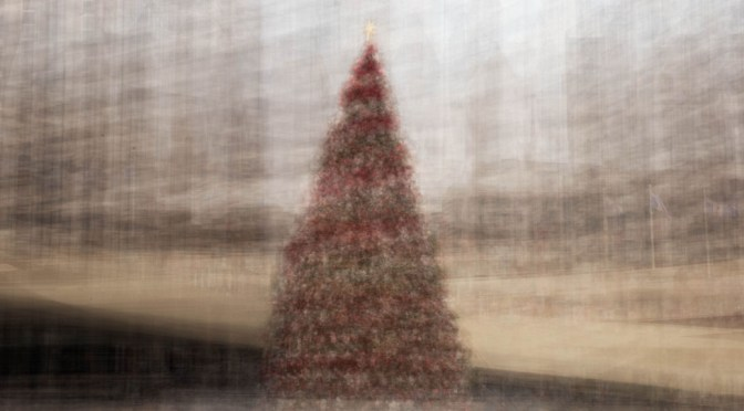 Christmas Tree In the Round - photo impressionistic image of Toronto City Hall Christmas Tree