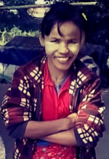 burmese woman wearing thank, thank myanmar, motorcycle through myanmar