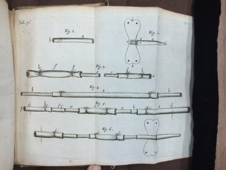 Richard Lower's apparatus for connected the artery and vein of emmitent and recipient during a transfusion. Image: Richard Lower, Tractatus de Corde item De Motu & Colore Sanguinis (Amsterdam: Danielem Elzevirium, 1669). Credit: John Martin Rare Book Room, University of Iowa.