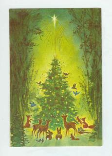 Greeting Card Christmas Rust Craft circa 1950