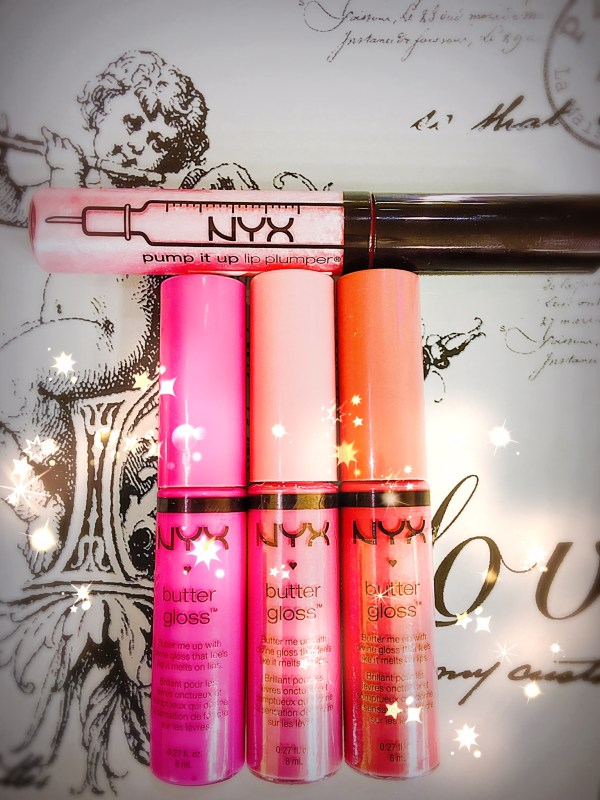NYC Cosmetics' Pump It Up Lip Plumper (On Top) along with a Trio of Superior NYX Butter Gloss