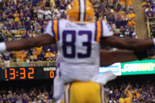 Wr Dural celebrates his Td catch
