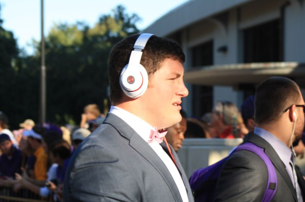 LSU players sporting the bow ties on saturday.