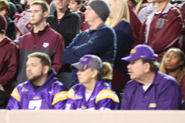 LSU Fans who made the trip to College Station to cheer on the Tigers.