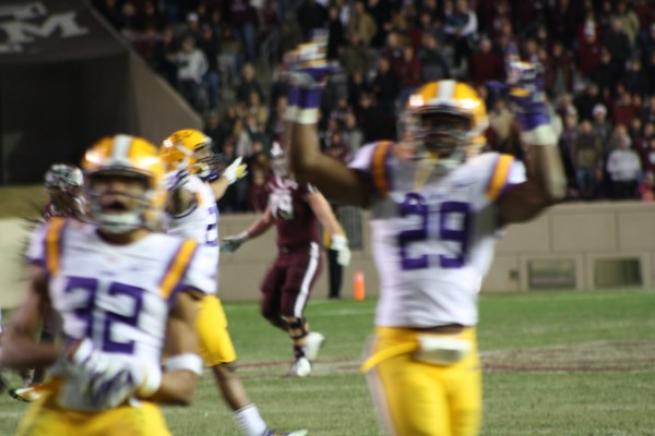 LSU Collins key interception at the end of the game.....  to clinch the victory for the Tigers.