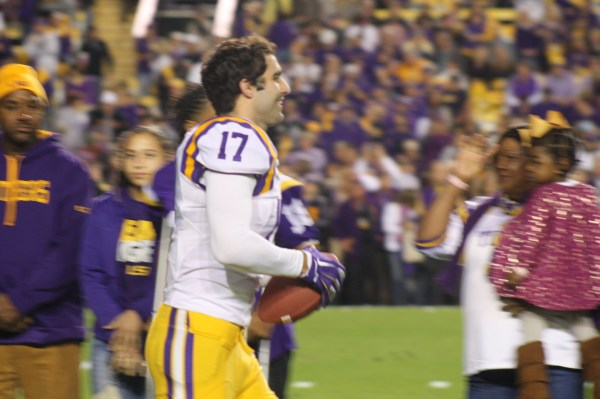 LSU Myles O'Brien  running out to greet his family for Senior Day.
