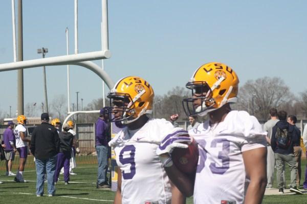 LSU receivers John Diarse and Traval Dural,