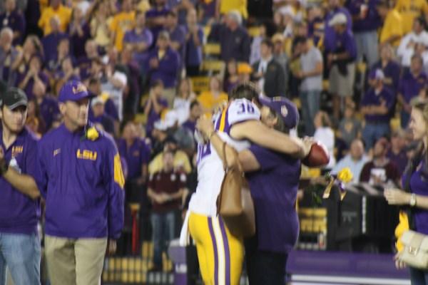 P Jamie Keehn giving his mom a hug.