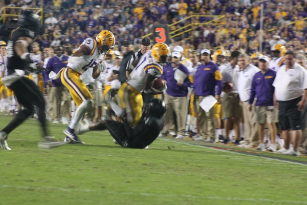 LSU Fournette is always running over a Aggie, they just seemed to get in his way.