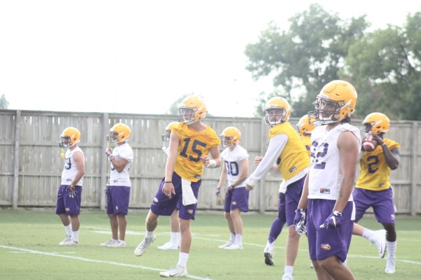 LSU backup qb Myles Brennan getting in a some throws.