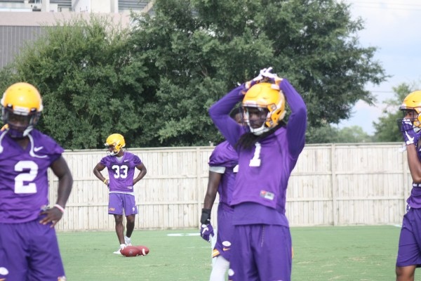 LSU Db Donte Jacksom getting in some stretching