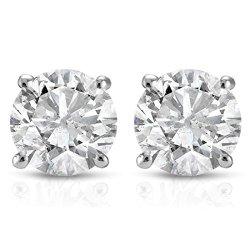 100CT-Diamond-Studs-14K-White-Gold-0
