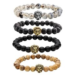 Top-Plaza-Jewelry-Lava-Rock-Turquoise-Matte-Agate-Picture-Jasper-Mens-Womens-Bracelet-Energy-Beads-Gold-Plated-Lion-Head-0