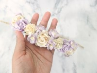 Ivory and lilac flower crown - wedding hair wreath ...