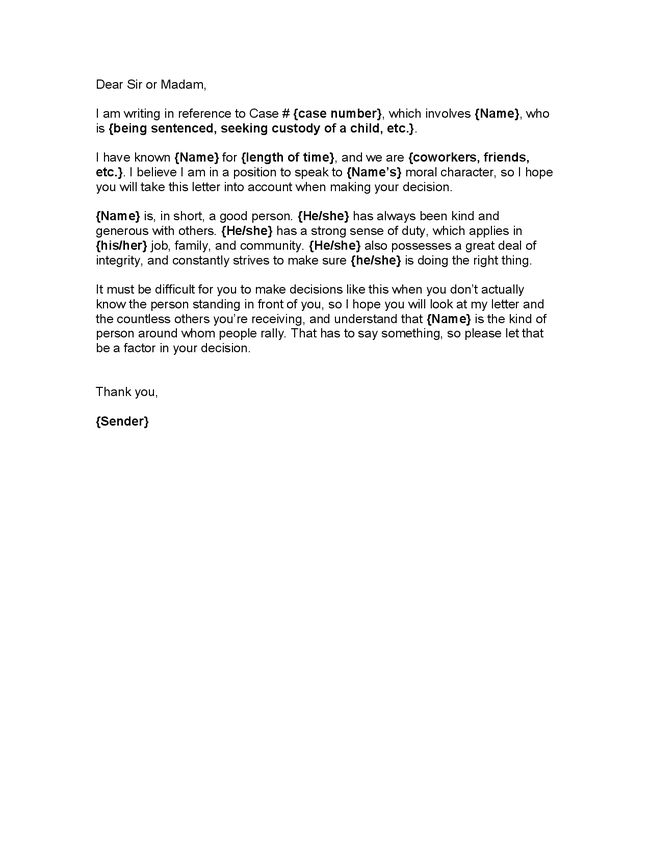 7 Top Character Reference Letter Template Character Reference