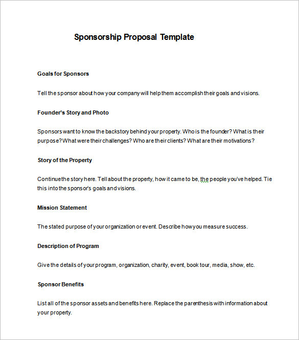 Free Sponsorship Form Template Word, Excel  PDF Samples Daily Roabox - charity sponsor form template