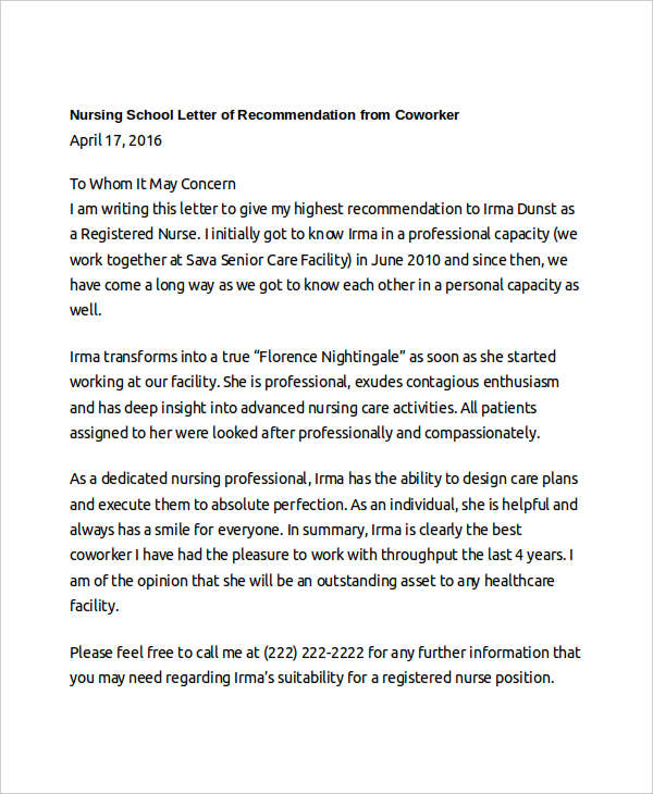5 Letter of Recommendation for Nursing School Template - Daily